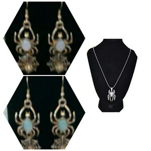 Spider necklace & 2 pairs spider earrings